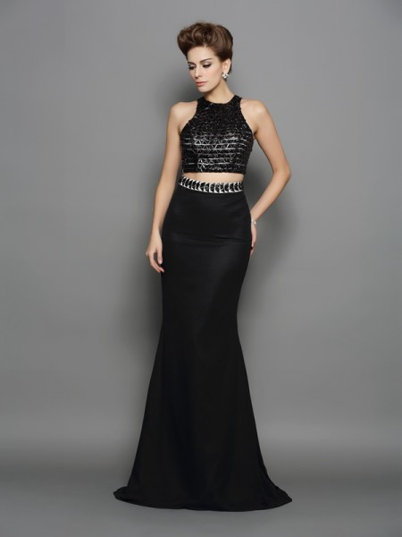 Trumpet/Mermaid High Neck Two Piece Dress with Long Chiffon
