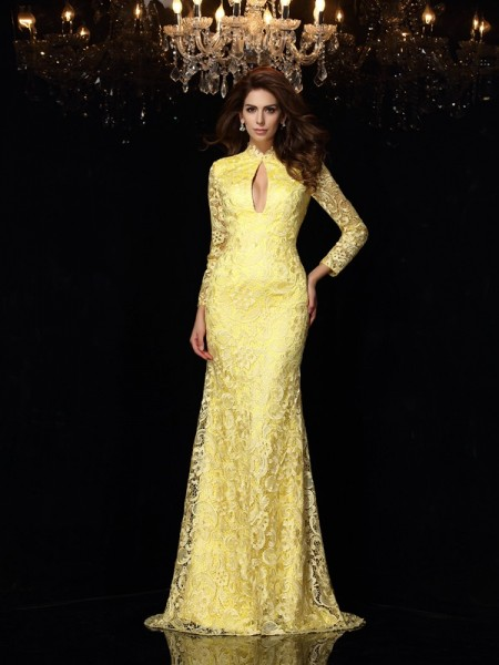 Sheath/Column High Neck Lace Long Sleeves Long Satin Dress