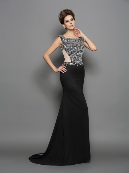 Trumpet/Mermaid Square Beading Dress with Long Chiffon