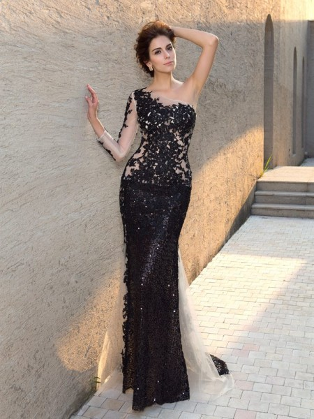 Sheath/Column One-Shoulder Sequin Long Sleeves Long Lace Dress