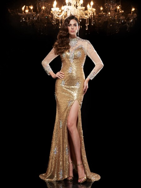 Trumpet/Mermaid High Neck Beading Long Sequins Dress