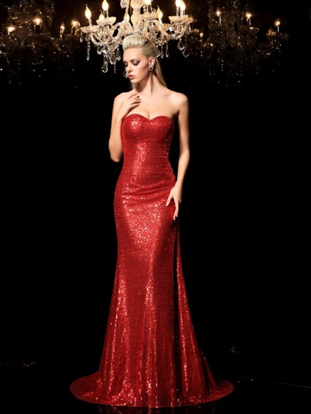 Sheath/Column Sweetheart Sequin Long Sequins Dress