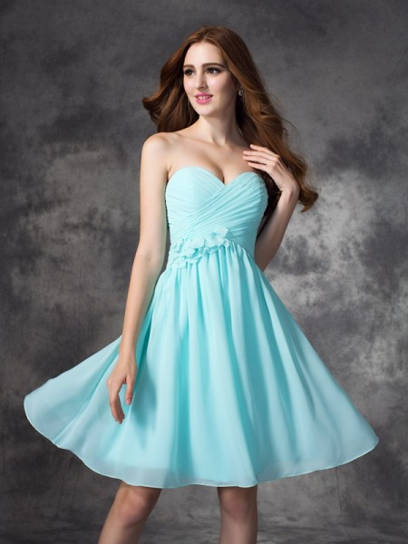 A-line/Princess Sweetheart Ruffles Short Chiffon Bridesmaid Dress