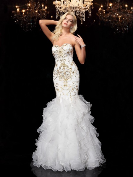Trumpet/Mermaid Sweetheart Beading Long Organza Dress