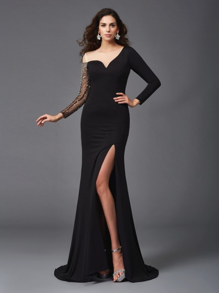 Sheath/Column Scoop Beading 3/4 Sleeves Long Spandex Dress