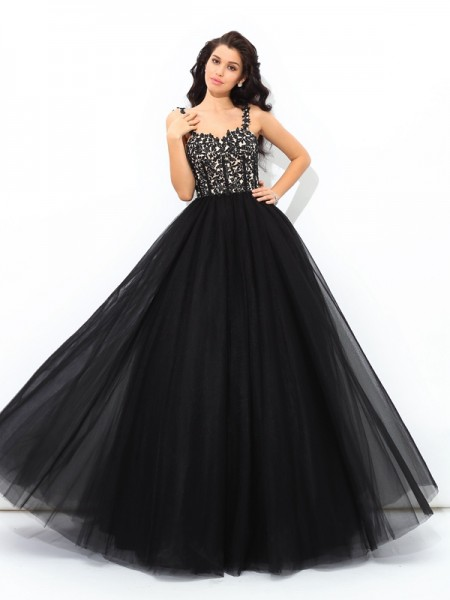 Ball Gown Straps Applique Long Net Quinceanera Dress