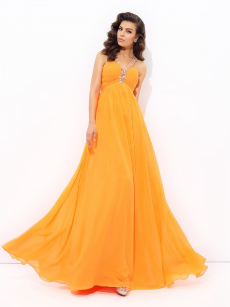 A-line/Princess V-neck Rhinestone Chiffon Dress