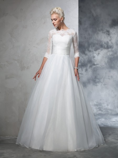 Ball Gown Jewel Applique 3/4 Sleeves Long Organza Wedding Dress