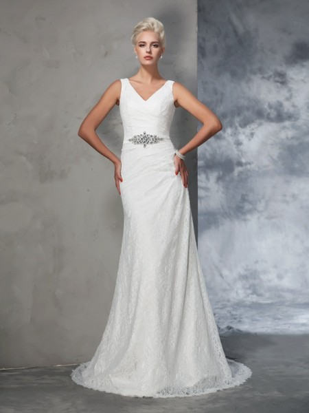 Trumpet/Mermaid V-neck Lace Lace Wedding Dress