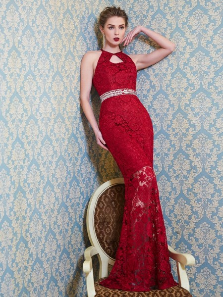Sheath/Column Jewel Floor-Length Lace Dress
