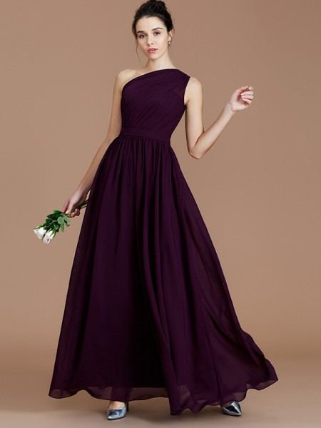 A-Line/Princess Ruched Floor-Length Chiffon Bridesmaid Dress
