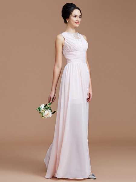 A-Line/Princess Jewel Ruched Floor-Length Chiffon Bridesmaid Dress