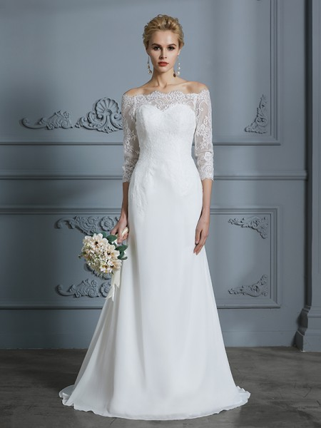 Trumpet/Mermaid Chiffon Off-the-Shoulder Sweep/Brush Train Wedding Dresses