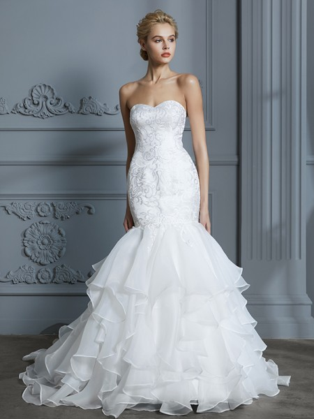Trumpet/Mermaid Organza Sweetheart Sweep/Brush Train Ruffles Wedding Dresses