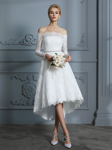 A-Line/Princess Lace Off-the-Shoulder Asymmetrical Wedding Dresses