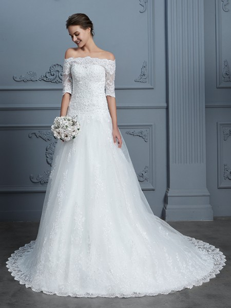 Ball Gown Lace Off-the-Shoulder Court Train Beading Wedding Dresses