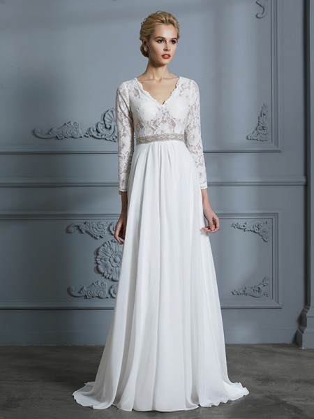 A-Line/Princess Chiffon V-neck Sweep/Brush Train Wedding Dresses