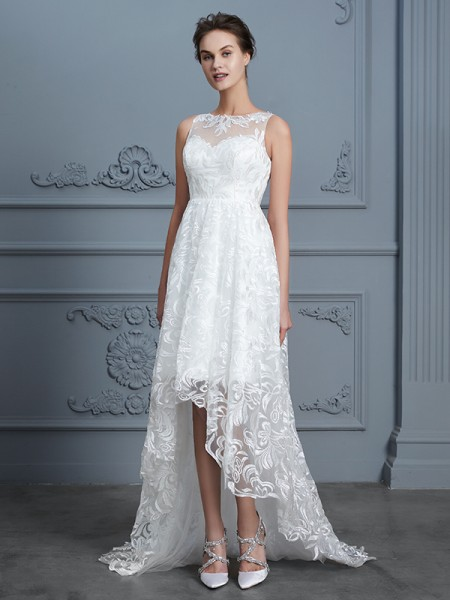 A-Line/Princess Scoop Asymmetrical Lace Wedding Dresses