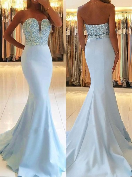 Trumpet/Mermaid Sleeveless Sweetheart Sweep/Brush Train Beading Satin Dress