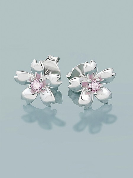 New 925 Sterling Silver With Flowers Earrings