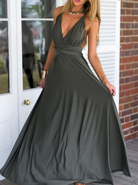 Empire Sleeveless V-neck Long Chiffon Ruffles Dress