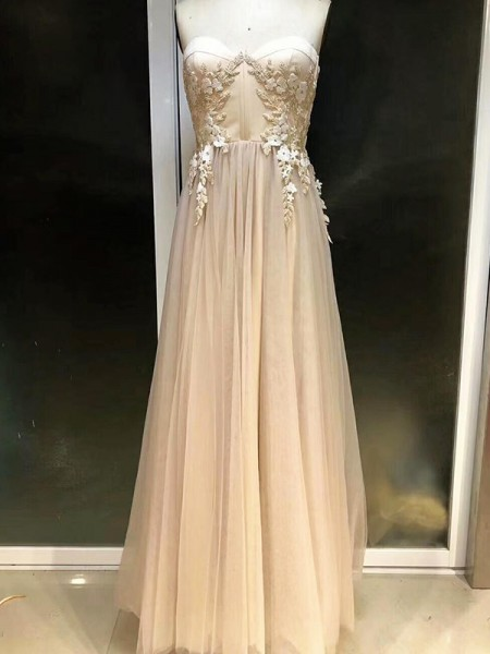 Empire Sleeveless Sweetheart Long Tulle Dress