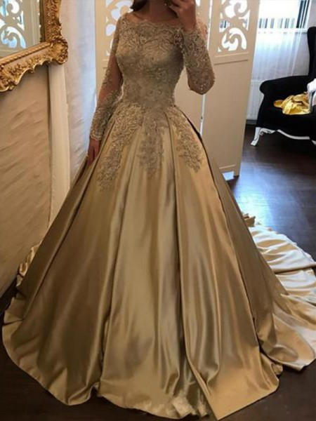 Ball Gown Long Sleeves Off-the-Shoulder Sweep/Brush Train Satin Dress