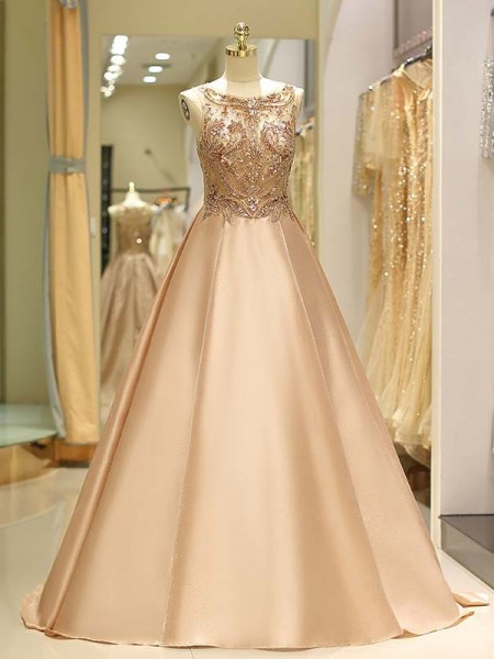 Ball Gown Sleeveless Bateau Sweep/Brush Train Beading Satin Dress