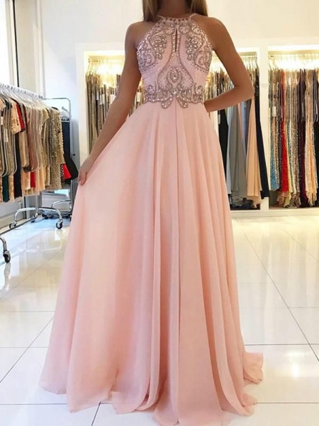 A-Line/Princess Sleeveless Halter Long Beading Chiffon Dress