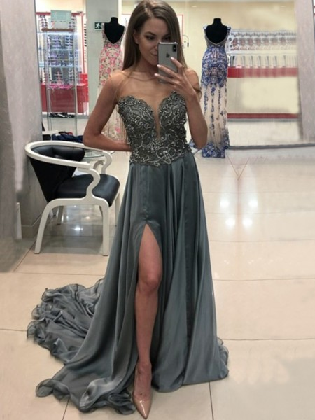A-Line/Princess Sleeveless Bateau Sweep/Brush Train Crystal Chiffon Dress