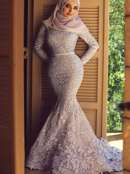 Trumpet/Mermaid Long Sleeves Sweep/Brush Train Ruffles Lace Muslim Dress