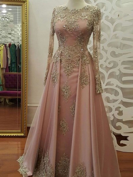 A-Line/Princess Long Sleeves Scoop Long Tulle Muslim Dress