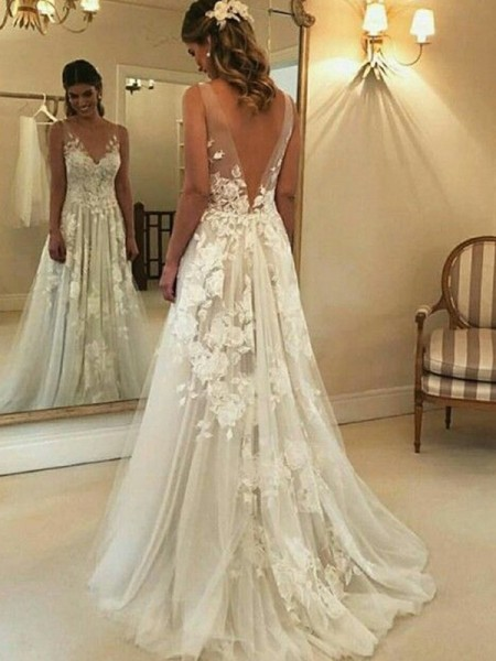 A-Line/Princess Sleeveless V-neck Applique Tulle Sweep/Brush Train Wedding Dress