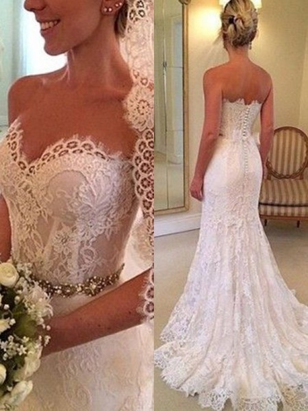 Sheath/Column Sweetheart Sleeveless Beading Lace Sweep/Brush Train Wedding Dress