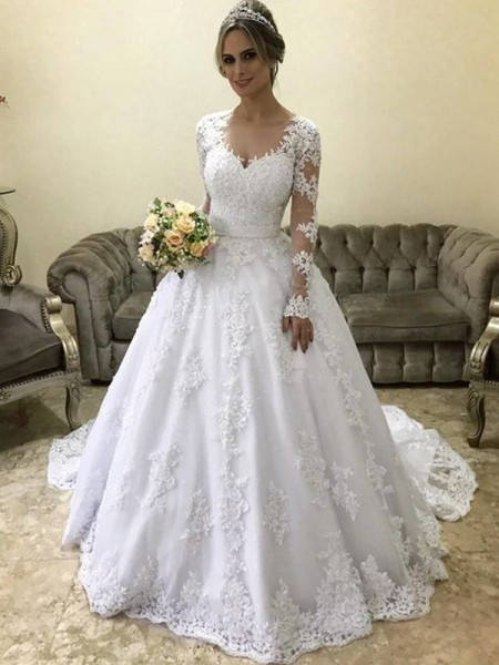 Ball Gown V-neck Long Sleeves Court Train Applique Satin Wedding Dress