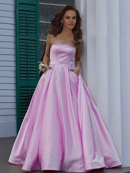 A-Line/Princess Strapless Sleeveless Ruffles Satin Floor-Length Dress