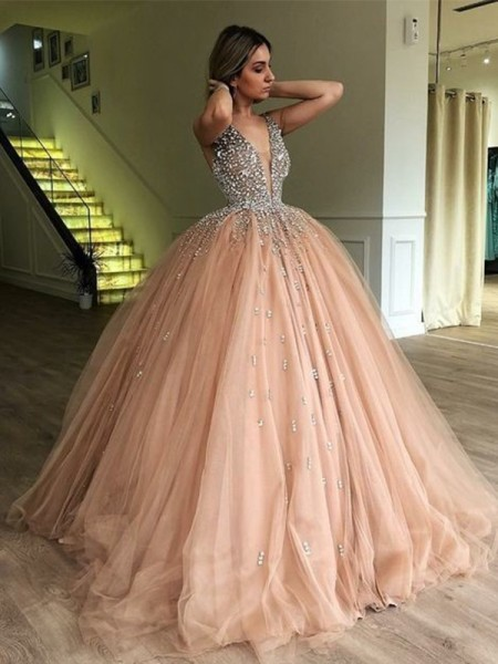 Ball Gown Sleeveless V-neck Beading Tulle Sweep/Brush Train Dress