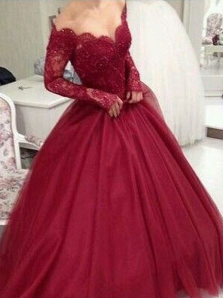 Ball Gown V-neck Long Sleeves Lace Tulle Floor-Length Dress
