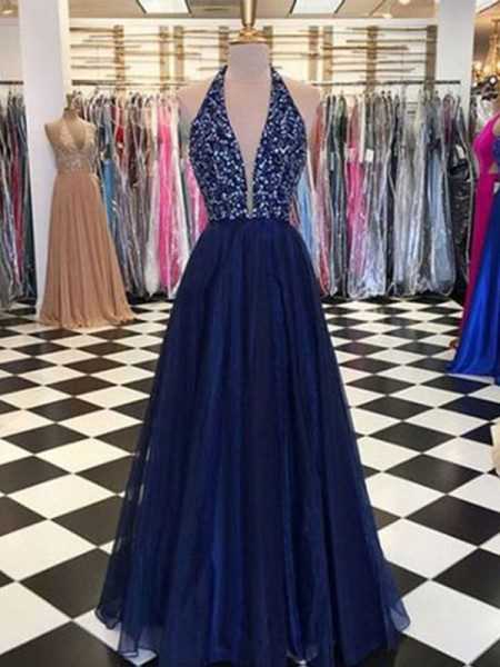 A-Line/Princess Halter Sleeveless Beading Tulle Floor-Length Dress