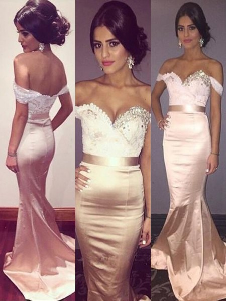 Trumpet/Mermaid Sleeveless Off-the-Shoulder Beading Satin Sweep/Brush Train Dress