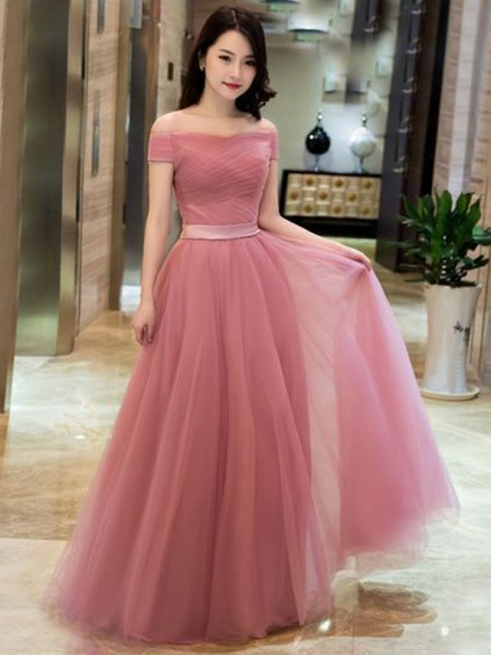 A-Line/Princess Tulle Ruffles Off-the-Shoulder Sleeveless Floor-Length Dress