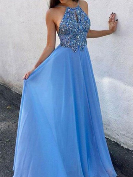 A-Line/Princess Chiffon Beading Halter Sleeveless Long Dress