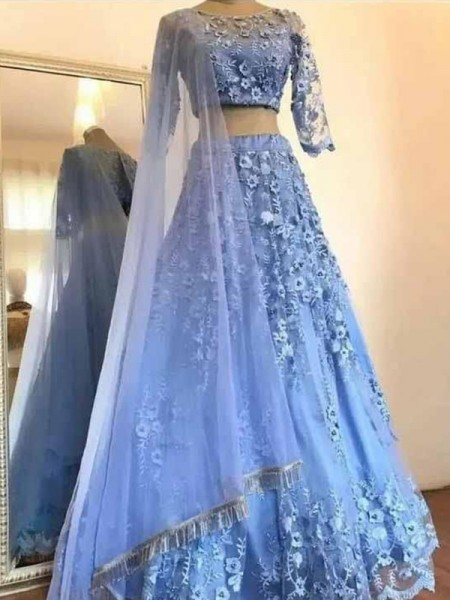 A-Line/Princess Tulle Applique Scoop 3/4 Sleeves Long Two Piece Dress