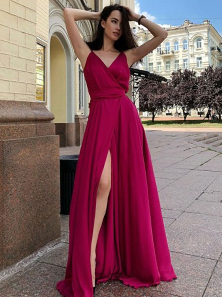 A-Line/Princess Satin Chiffon Ruffles Sleeveless Sweep/Brush Train Dress