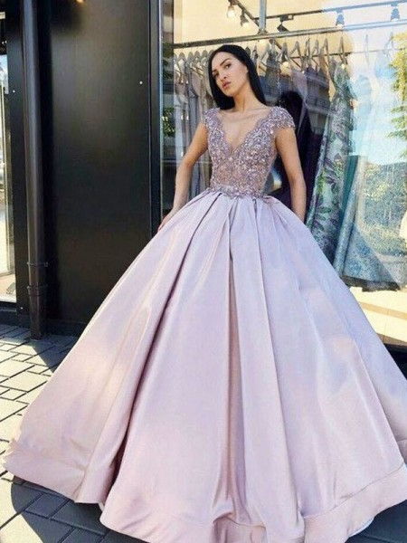 Ball Gown Satin Beading V-neck Short Sleeves Long Dress