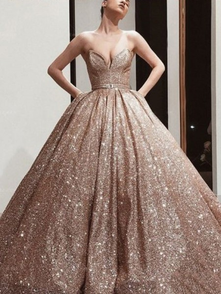 Ball Gown Sequins Sweetheart Sleeveless Floor-Length Dress