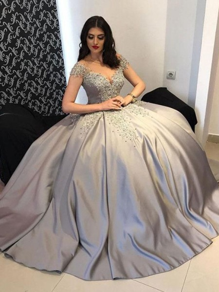 Ball Gown Satin Off-the-Shoulder Sleeveless Beading Sweep/Brush Train Dress