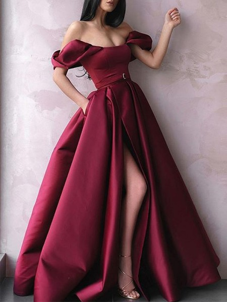 A-Line/Princess Off-the-Shoulder Satin Long Sleeveless Dress