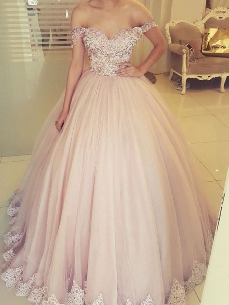 Ball Gown Off-the-Shoulder Long Sleeveless Tulle Applique Dress