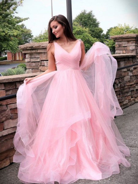 A-Line/Princess Tulle Ruched Sleeveless Sweep/Brush Train V-neck Dress
